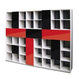 biblioteca-granada-argintiu-rosu-negru-2545-x-1925-x-340-mm