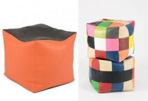 Fotoliu Taburet Cub XL - Black-Top Orange (piele ecologica)