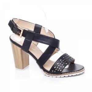Sandale Arleen negre cu toc gros