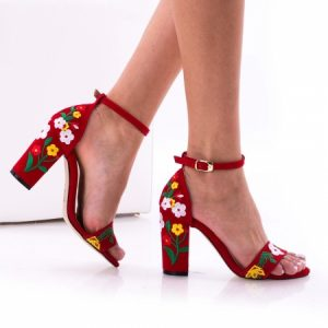 Sandale de dama cu toc gros, rosii, Cudo 1150 Kirmizi, de dama