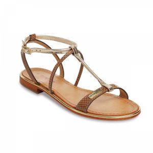 Sandale din piele, cu talpa joasa, maro cu auriu, de dama, 0224236, Les Tropeziennes