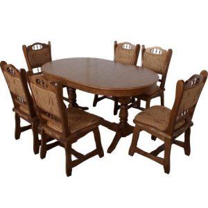 set-masa-extensibila-euro-1-stejar-cu-6-scaune