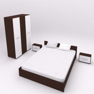 Set dormitor Hera , Wenge+Alb, sifonier 123x1870, pat 160x200 2