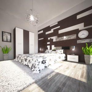 Set dormitor Hera , Wenge+Alb, sifonier 123x1870, pat 160x200