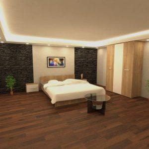 Set dormitor Hera,pat 160x200,stejar auriu-alb 1