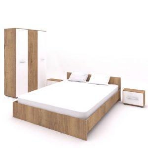 Set dormitor Hera,pat 160x200,stejar auriu-alb 2