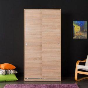 Dulap Adore, Dormitor Usi Glisante, Nuc, 93 x 182 x 55 cm