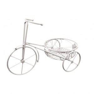 Suport ghiveci Bicycle, Alb, 46x24x32 cm