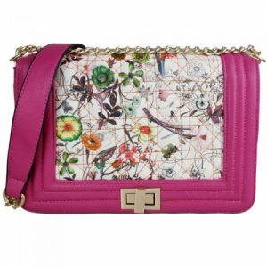 Geanta de umar roz cu print floral din piele ecologica Miss Lulu de dama - L1424 -