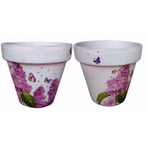 Set 2 ghivece decorative, model liliac, 17 cm