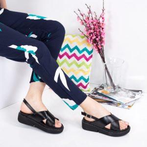 Sandale Ravn negre cu platforma plata