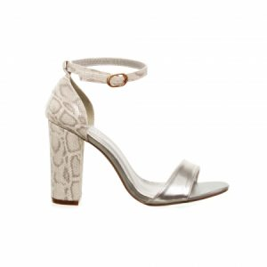 Sandale argintii cu toc gros si imprimeu snake piele ecologica, 35
