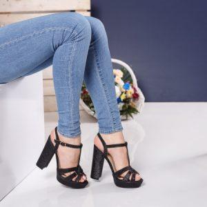Sandale dama Chika negre cu toc gros si platforma